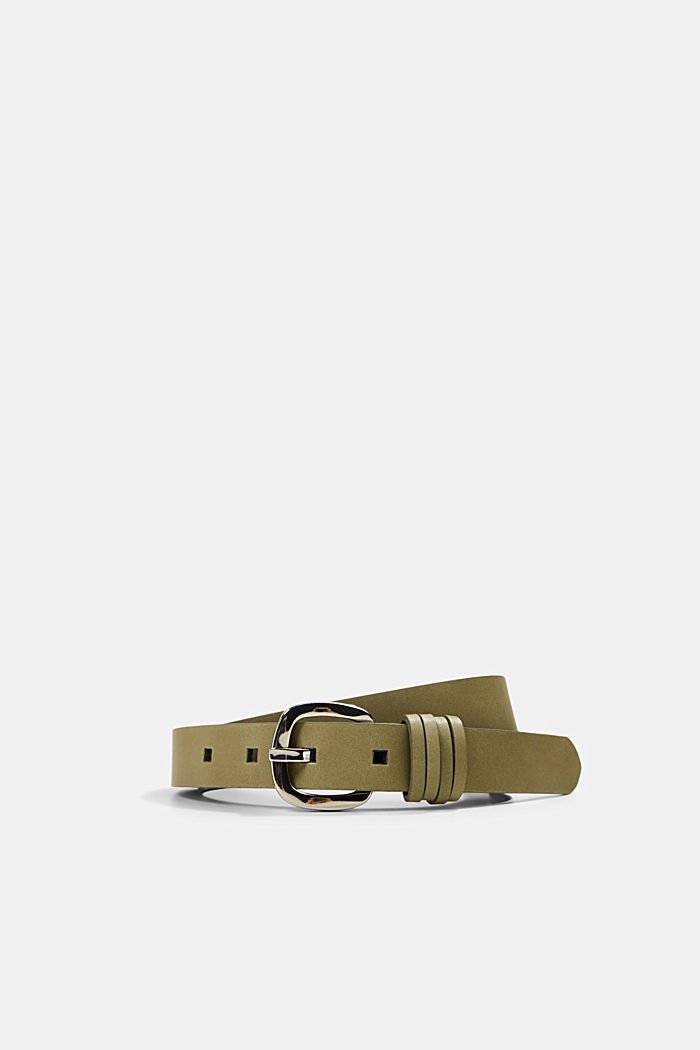 Narrow leather belt with fine loops, LIGHT KHAKI, detail image number 0
