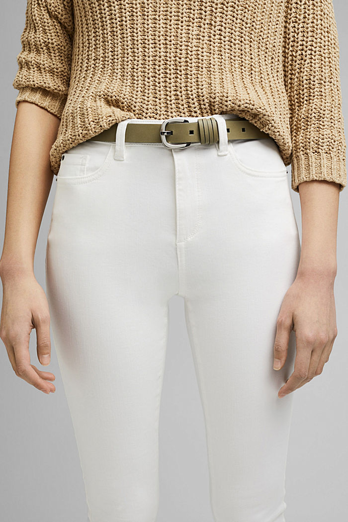 Narrow leather belt with fine loops, LIGHT KHAKI, detail image number 2