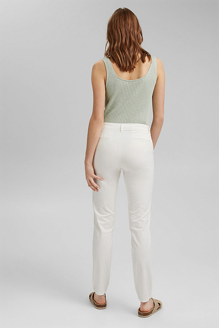Stretch chinos in organic cotton, WHITE, detail image number 3
