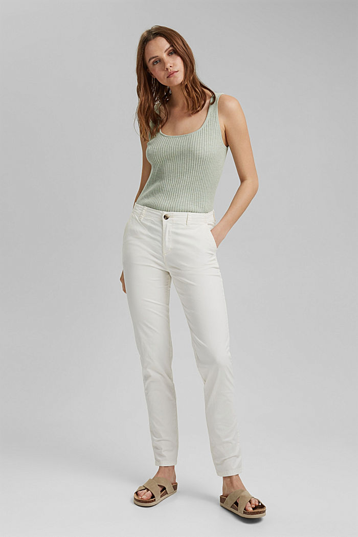 Stretch chinos in organic cotton, WHITE, detail image number 1