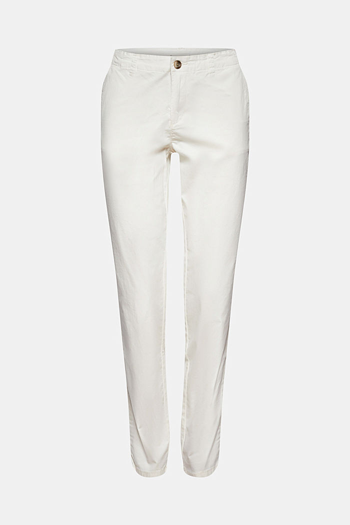 Stretch chinos in organic cotton, WHITE, detail image number 5
