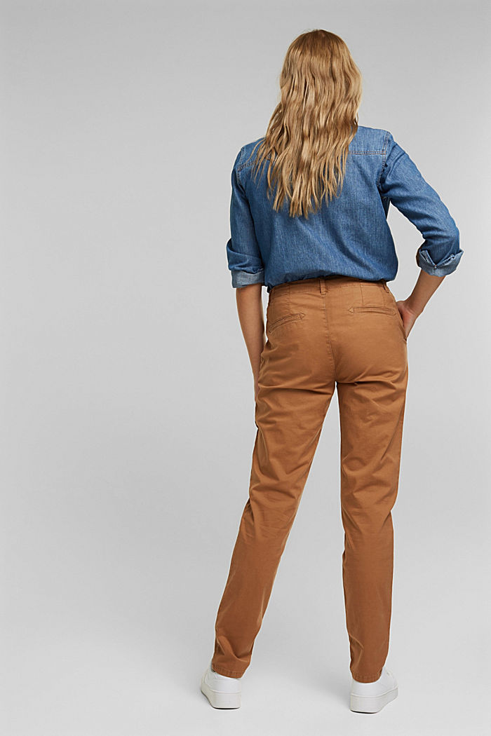 Stretch chinos in organic cotton, CARAMEL, detail image number 3