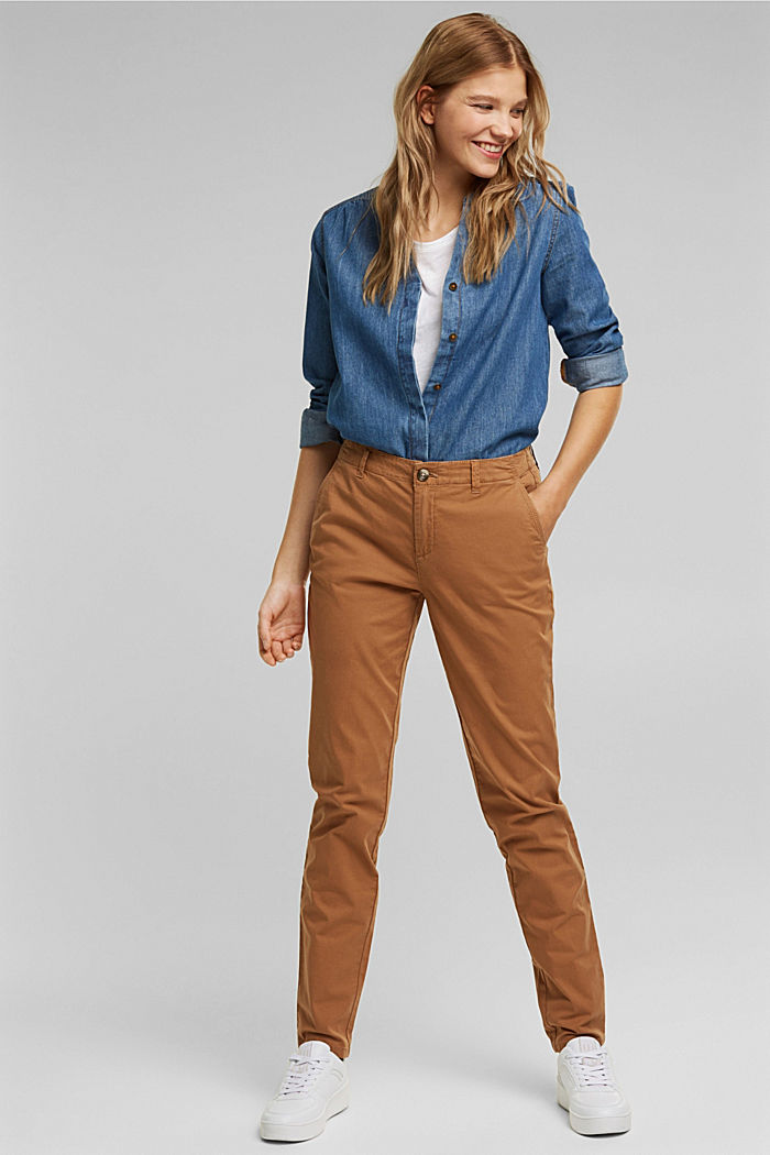 Stretch chinos in organic cotton, CARAMEL, detail image number 1