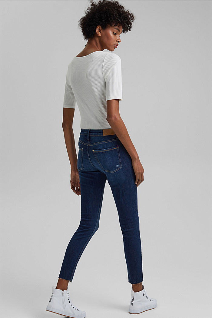 Ankle-length stretch jeans made of organic cotton, BLUE DARK WASHED, detail image number 3