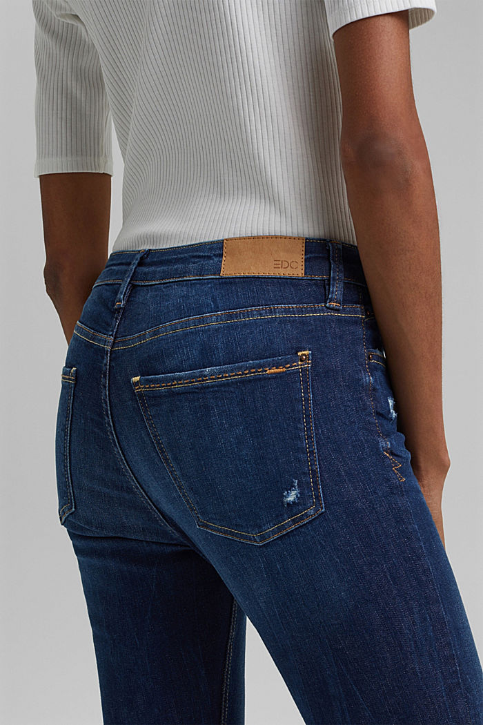 Ankle-length stretch jeans made of organic cotton, BLUE DARK WASHED, detail image number 5