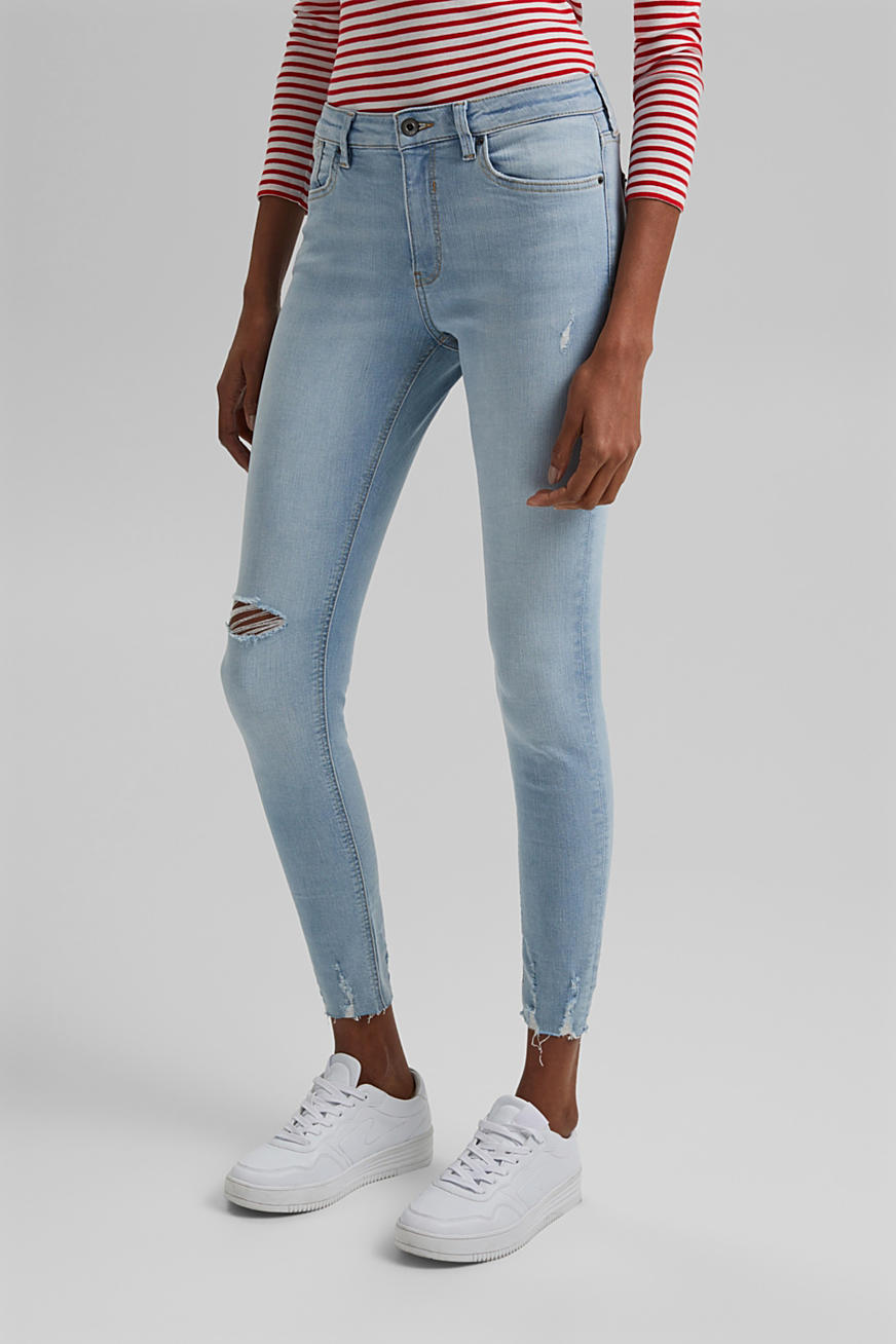 Ankle-length stretch jeans made of organic cotton