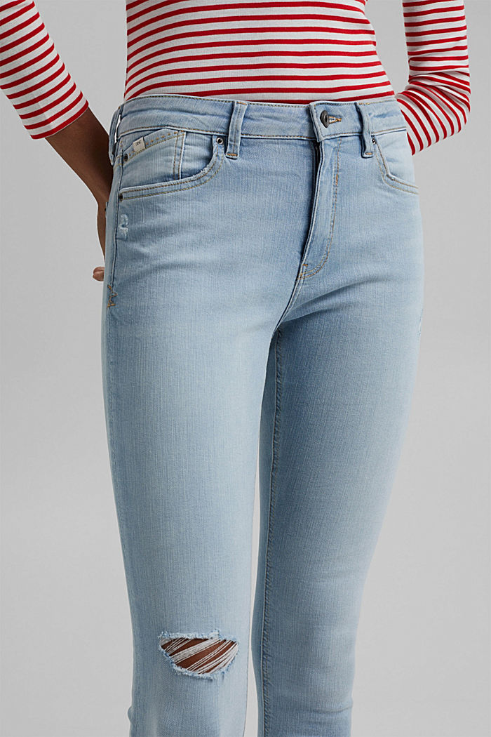 Ankle-length stretch jeans made of organic cotton, BLUE LIGHT WASHED, detail image number 2