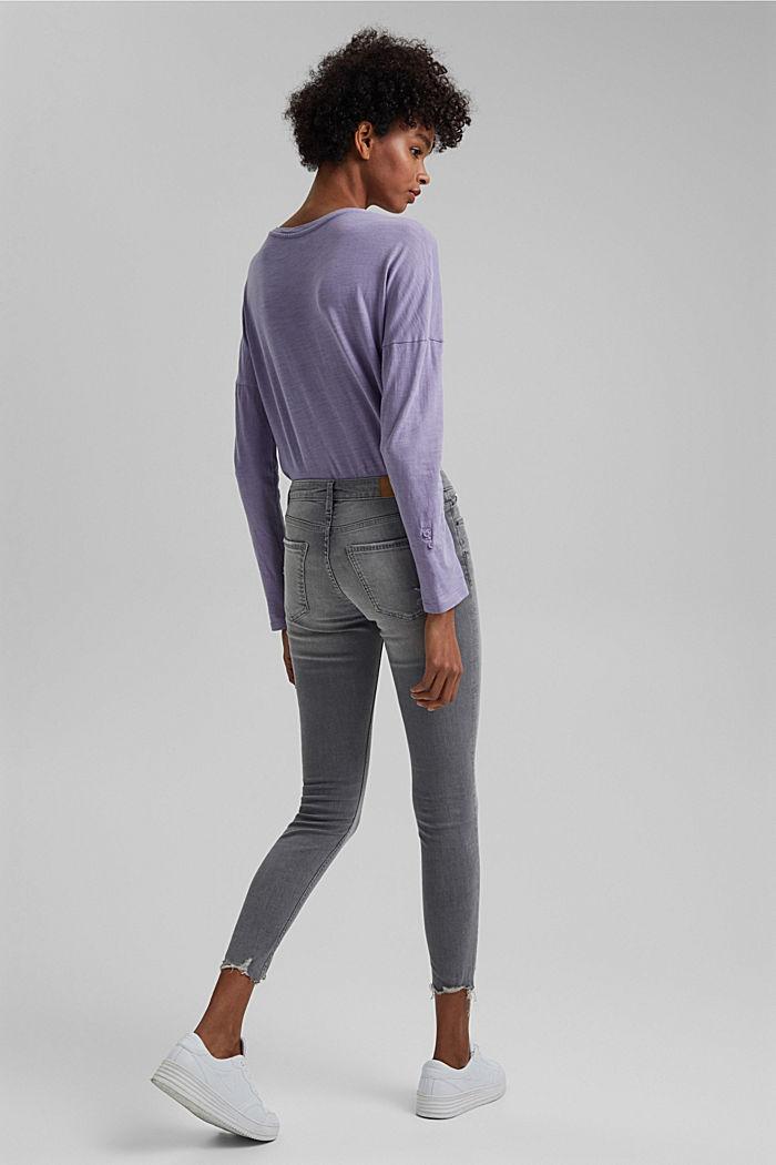 Knöchellange Stretch-Jeans aus Bio-Baumwolle, GREY LIGHT WASHED, detail image number 3