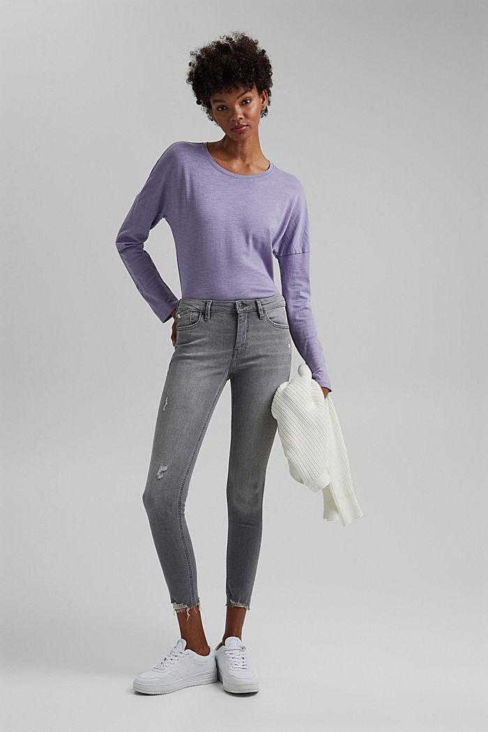 Knöchellange Stretch-Jeans aus Bio-Baumwolle, GREY LIGHT WASHED, detail image number 1