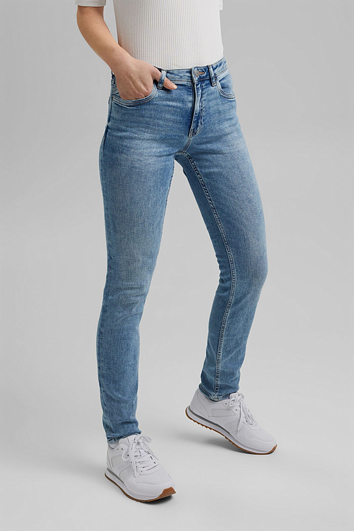 Stretch-Jeans aus Organic Cotton, BLUE LIGHT WASHED, overview