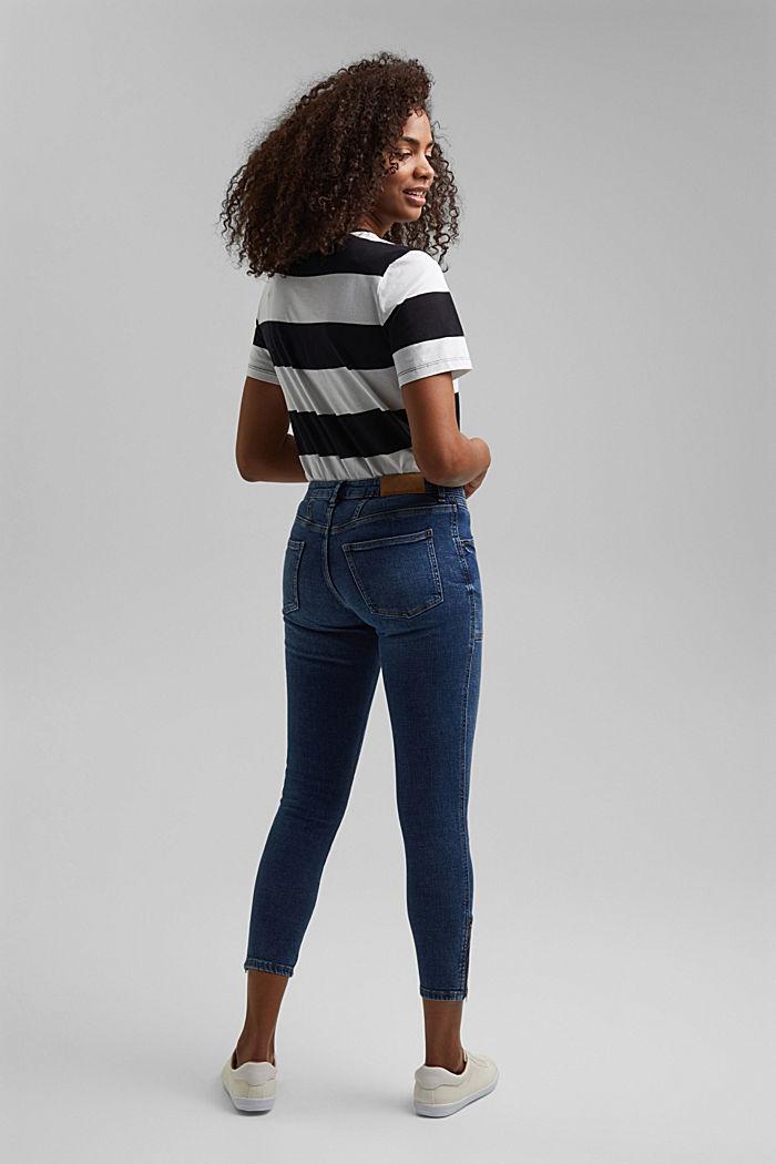 Knöchellange Jeans mit Yoke und Saum-Zippern, BLUE DARK WASHED, detail image number 3