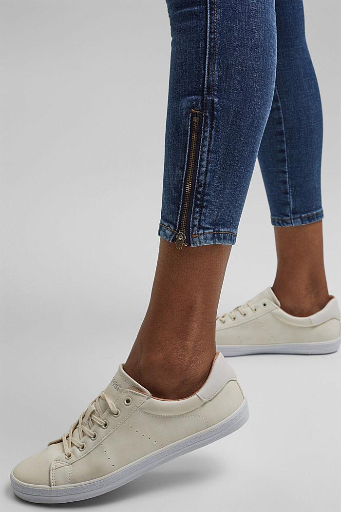 Knöchellange Jeans mit Yoke und Saum-Zippern, BLUE DARK WASHED, detail image number 6