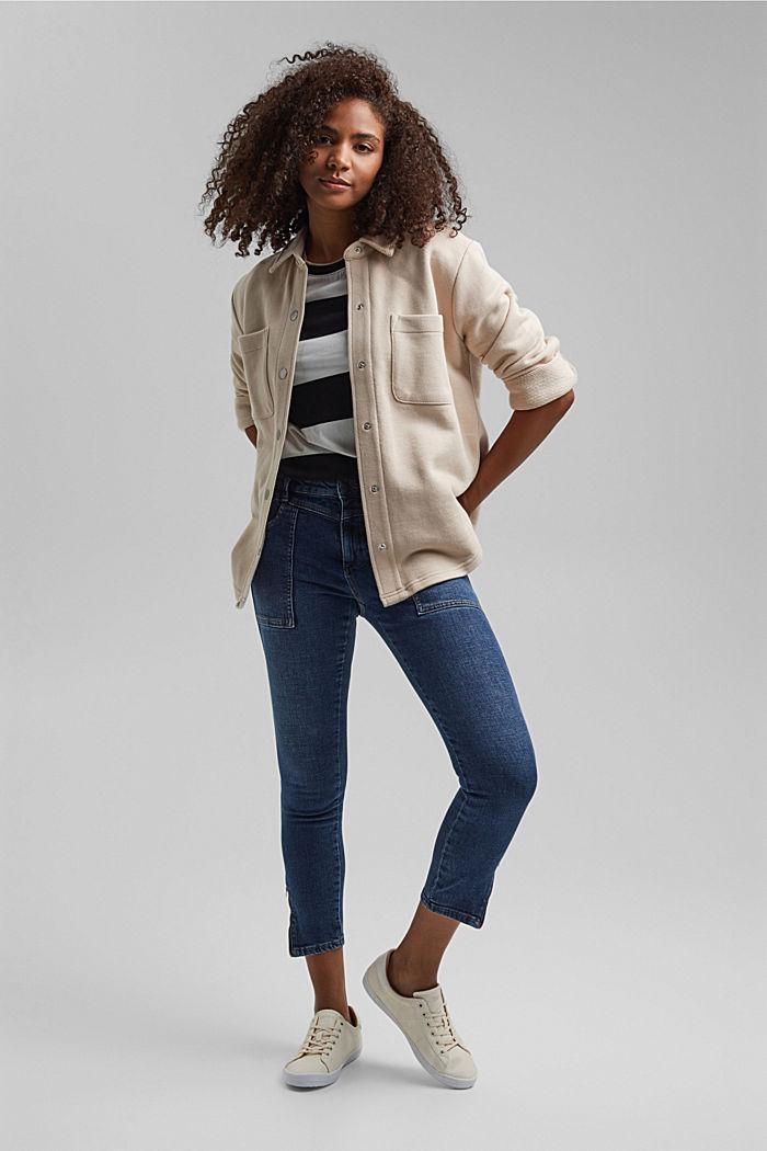 Knöchellange Jeans mit Yoke und Saum-Zippern, BLUE DARK WASHED, detail image number 1