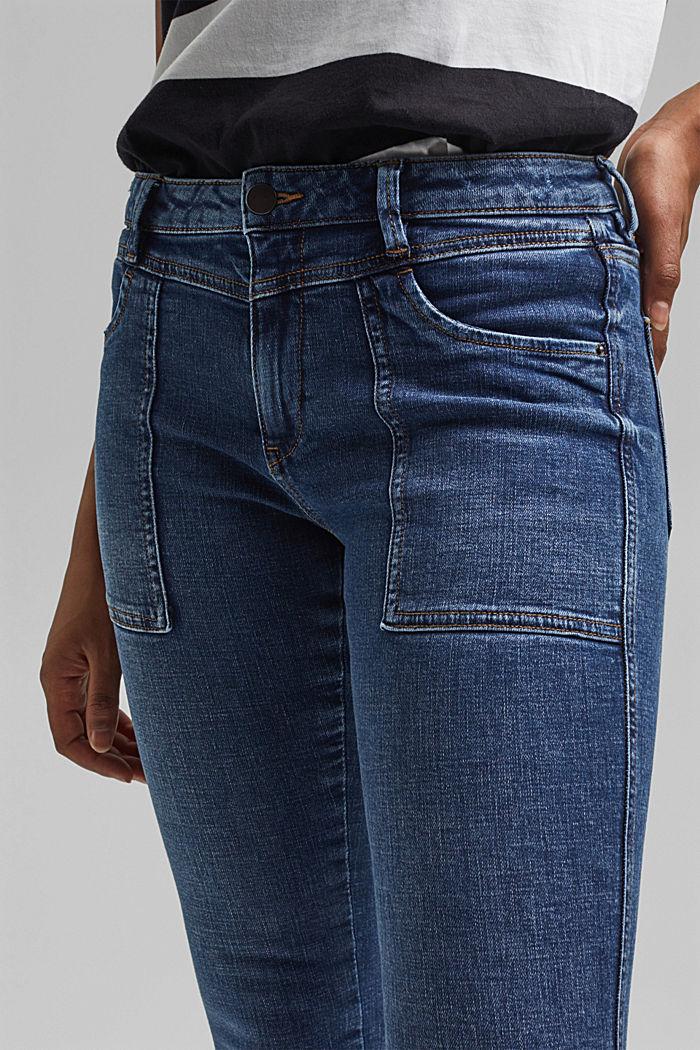 Knöchellange Jeans mit Yoke und Saum-Zippern, BLUE DARK WASHED, detail image number 2