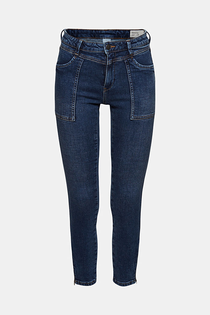Ankle-length jeans with yokes and hem zips, BLUE DARK WASHED, detail image number 8