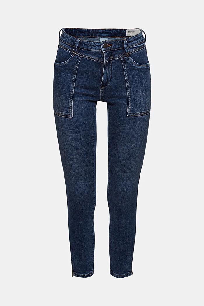 Knöchellange Jeans mit Yoke und Saum-Zippern, BLUE DARK WASHED, detail image number 8