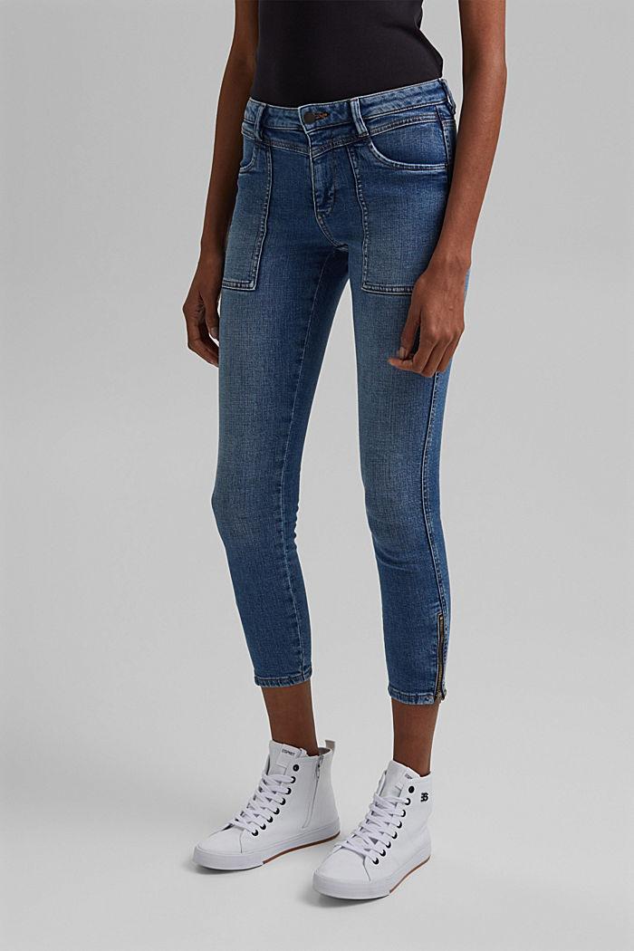 Ankellange jeans med bærestykke under linningen og lynlås nederst på benene, BLUE MEDIUM WASHED, detail image number 0
