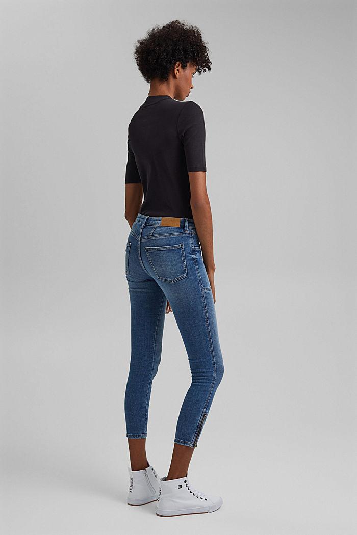 Ankellange jeans med bærestykke under linningen og lynlås nederst på benene, BLUE MEDIUM WASHED, detail image number 3