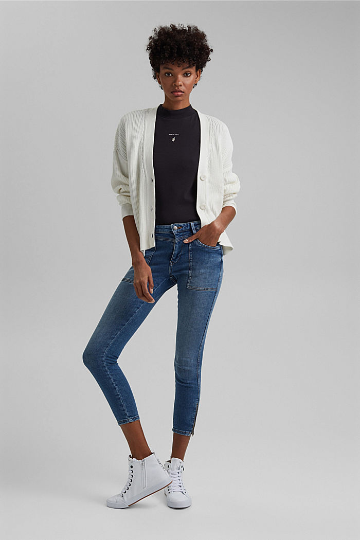 Ankellange jeans med bærestykke under linningen og lynlås nederst på benene, BLUE MEDIUM WASHED, detail image number 1