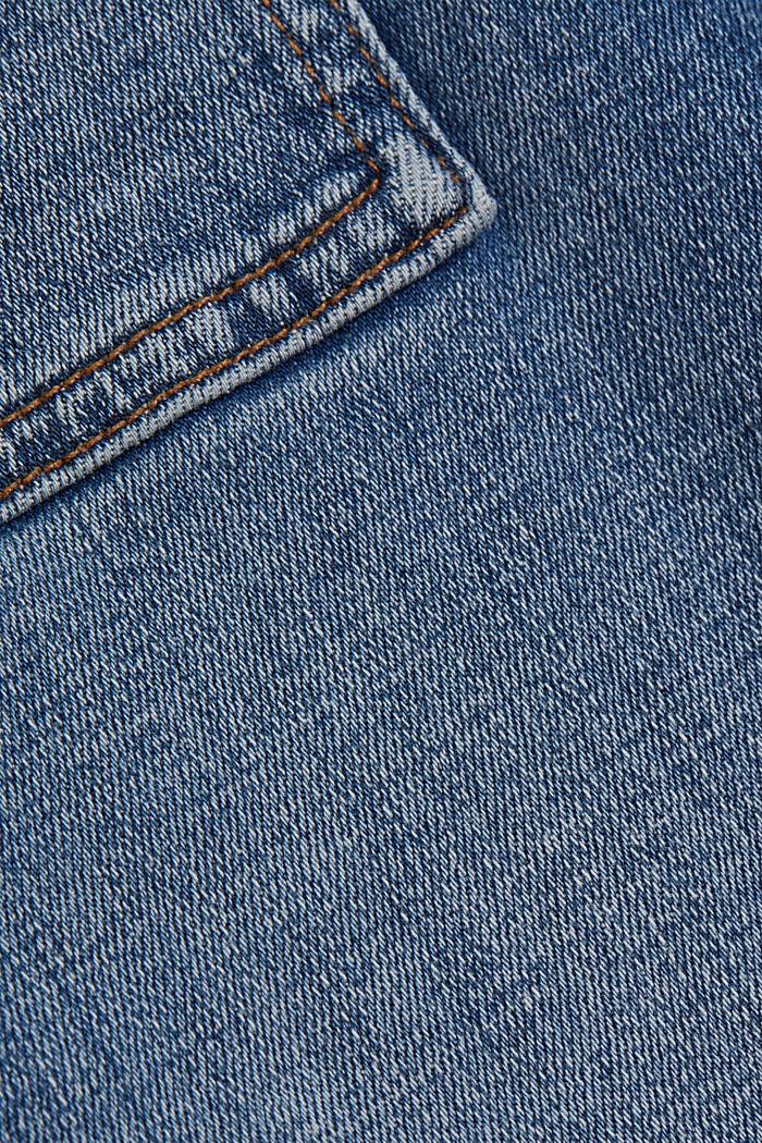 Ankellange jeans med bærestykke under linningen og lynlås nederst på benene, BLUE MEDIUM WASHED, detail image number 4
