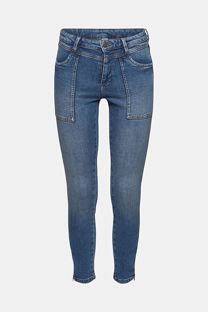 Ankle-length jeans with yokes and hem zips