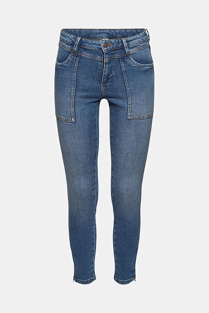 Knöchellange Jeans mit Yoke und Saum-Zippern
