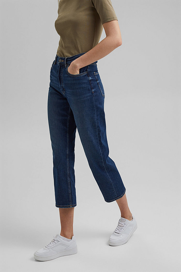 Cropped Fashion Fit jeans, BLUE DARK WASHED, overview