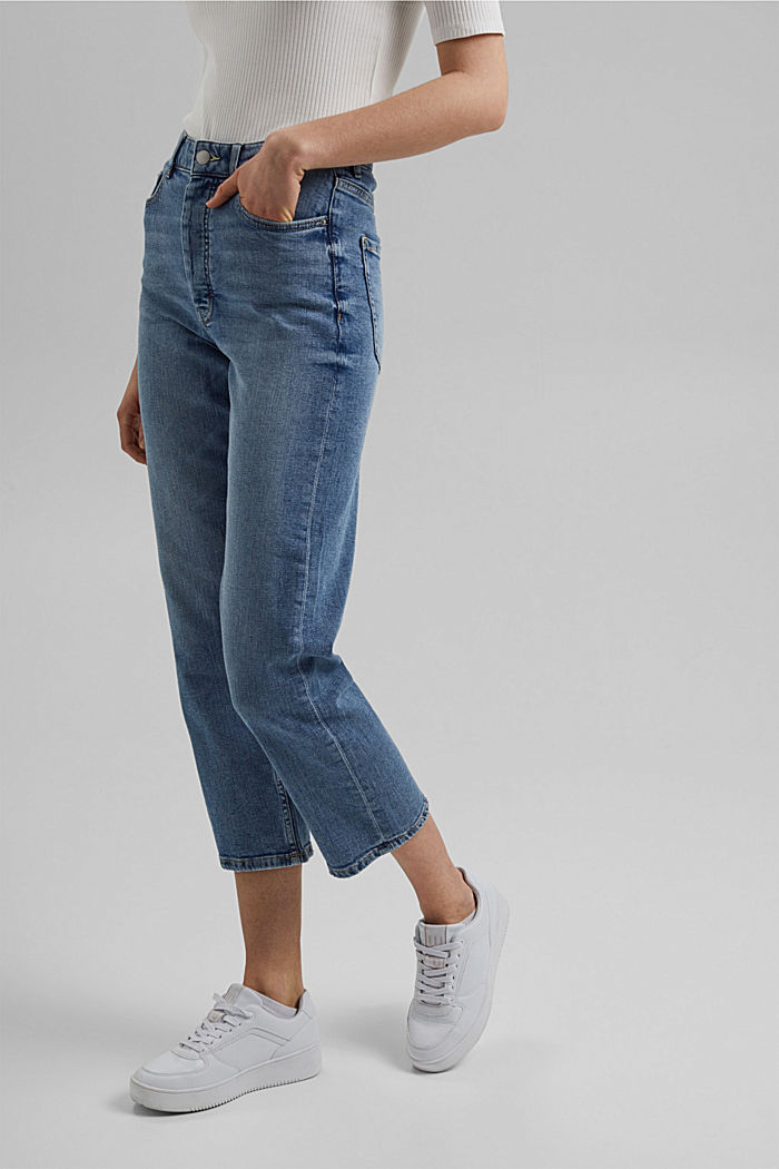 Jeans cropped dal taglio fashion, BLUE LIGHT WASHED, detail image number 0