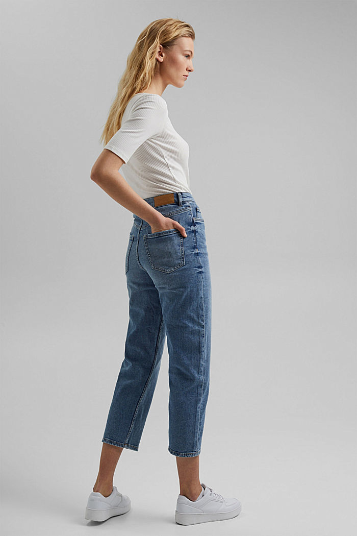 Jeans cropped dal taglio fashion, BLUE LIGHT WASHED, detail image number 3