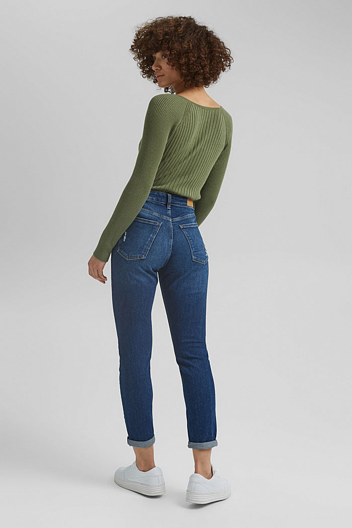 Mom jeans made of organic cotton, BLUE DARK WASHED, detail image number 3