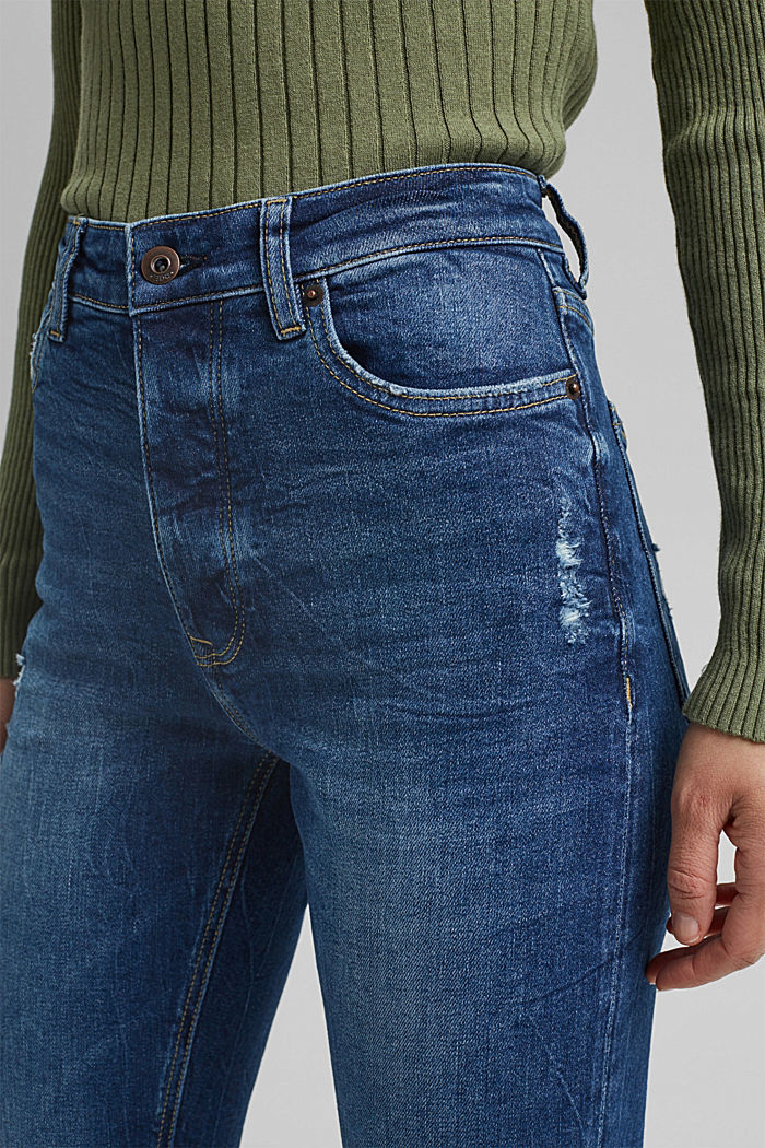 Mom jeans made of organic cotton, BLUE DARK WASHED, detail image number 2
