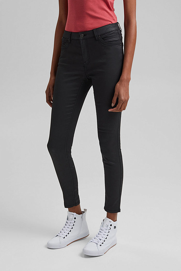 Coated Ankle-Pants mit Organic Cotton, BLACK, detail image number 0