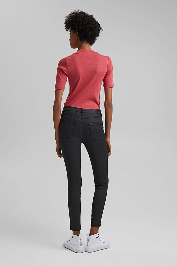 Coated Ankle-Pants mit Organic Cotton, BLACK, detail image number 3