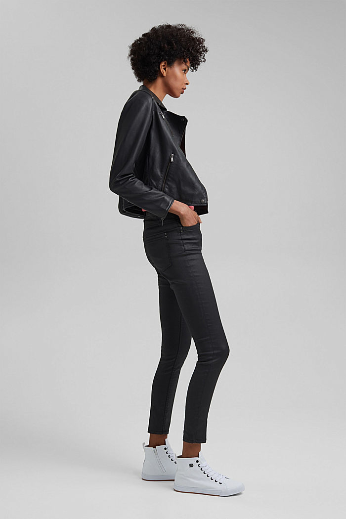 Coated Ankle-Pants mit Organic Cotton, BLACK, detail image number 5