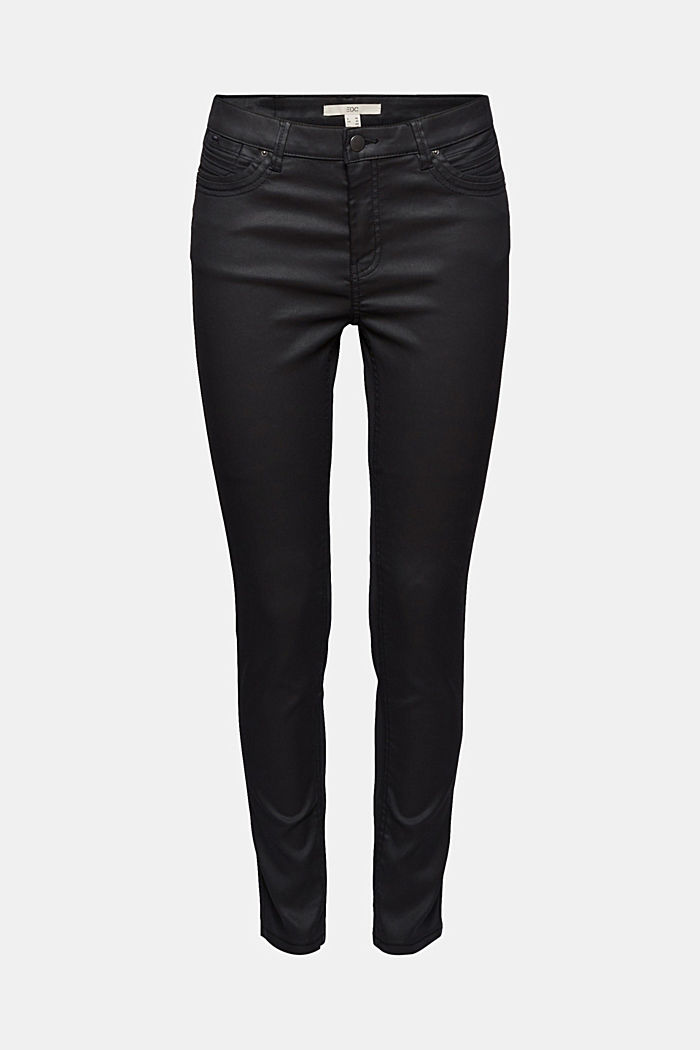 Coated Ankle-Pants mit Organic Cotton, BLACK, detail image number 6