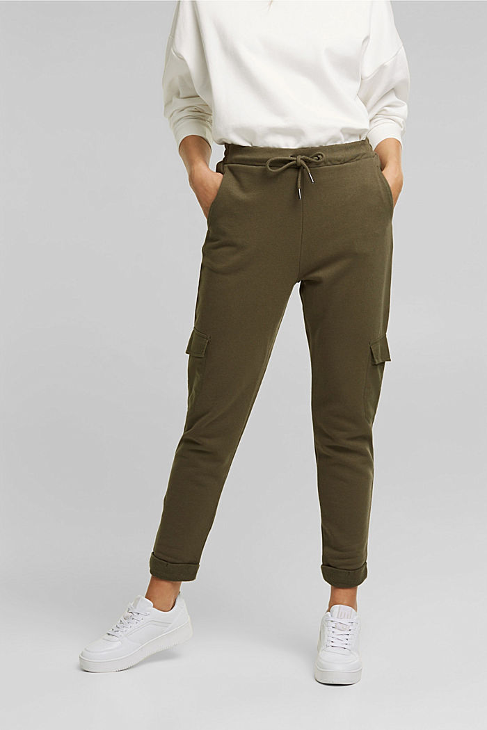 Tracksuit bottoms in a cargo style, KHAKI GREEN, detail image number 0
