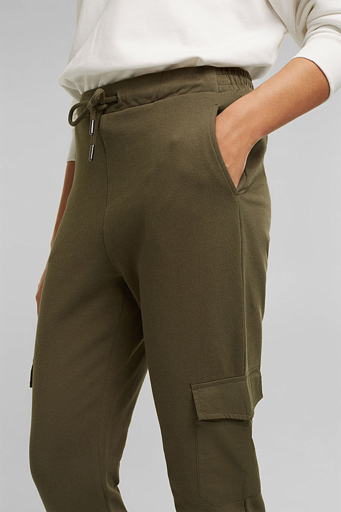 Tracksuit bottoms in a cargo style, KHAKI GREEN, detail image number 2