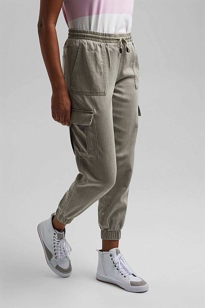In a TENCEL™ blend: Tracksuit bottoms in a utility style, LIGHT KHAKI, detail image number 0
