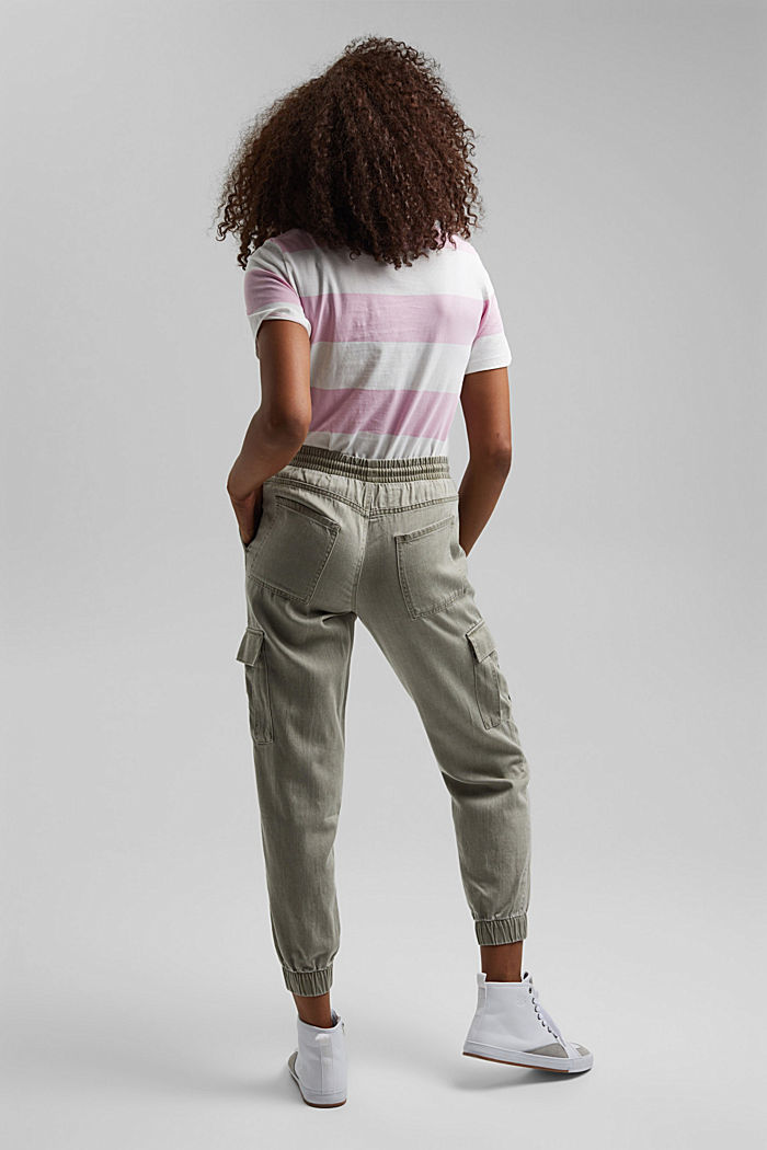 In a TENCEL™ blend: Tracksuit bottoms in a utility style, LIGHT KHAKI, detail image number 3