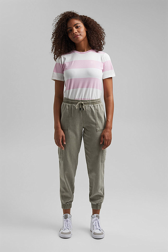 In a TENCEL™ blend: Tracksuit bottoms in a utility style