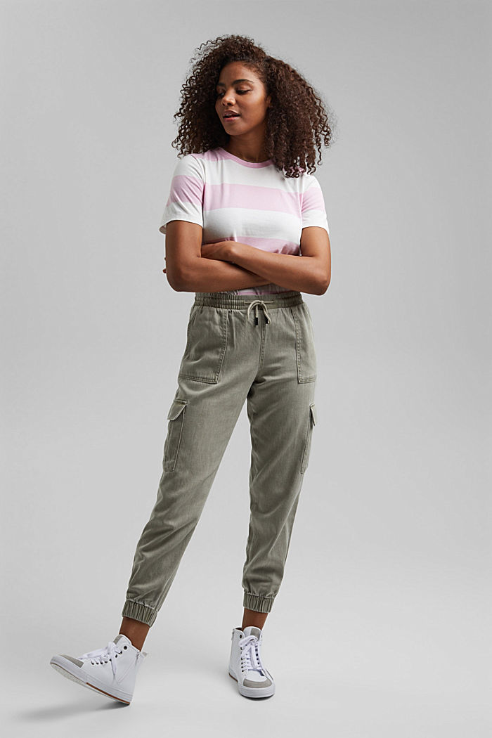 In a TENCEL™ blend: Tracksuit bottoms in a utility style, LIGHT KHAKI, detail image number 7