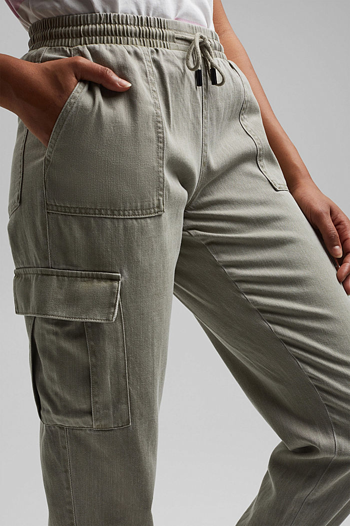 In a TENCEL™ blend: Tracksuit bottoms in a utility style, LIGHT KHAKI, detail image number 2