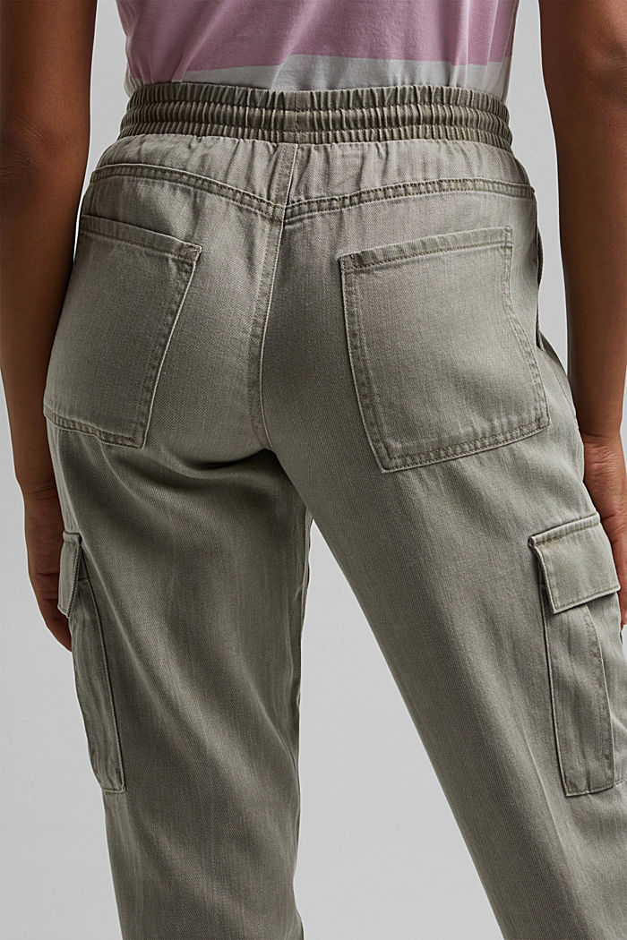 In a TENCEL™ blend: Tracksuit bottoms in a utility style, LIGHT KHAKI, detail image number 5