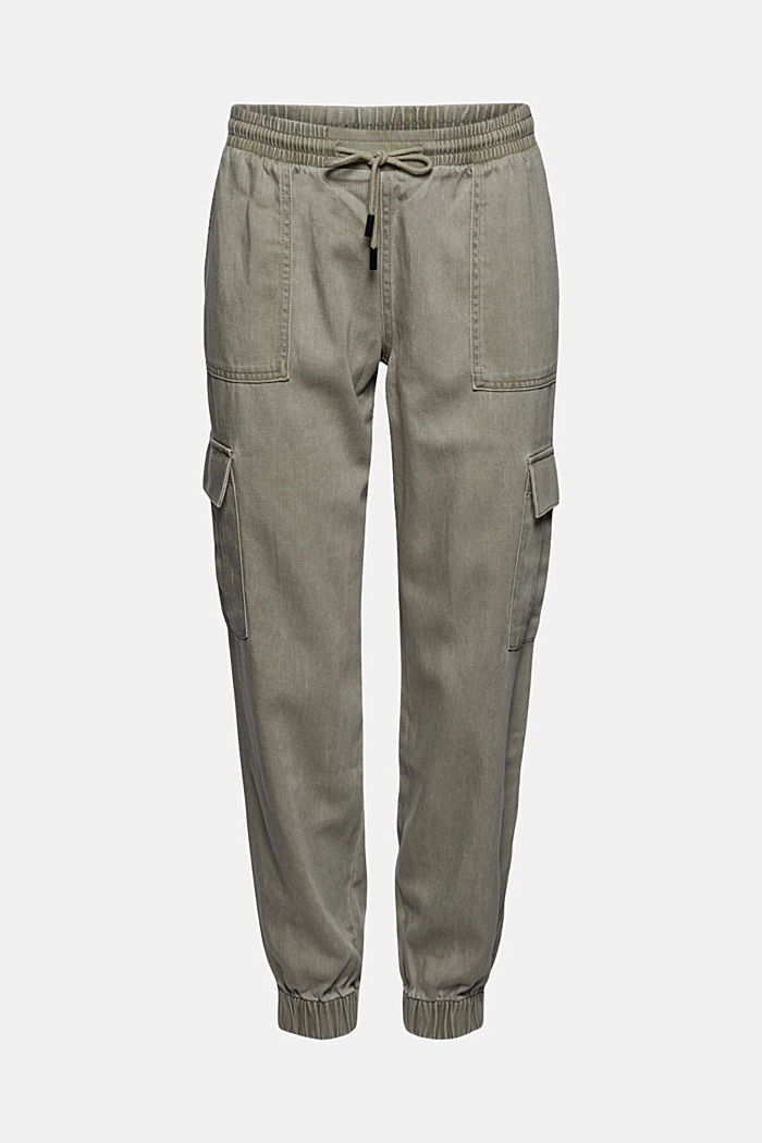 In a TENCEL™ blend: Tracksuit bottoms in a utility style, LIGHT KHAKI, detail image number 8