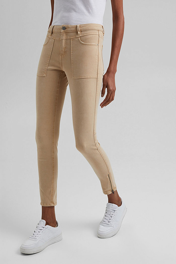 Recycelt: Stretch-Hose mit Zipper, BEIGE, detail image number 0