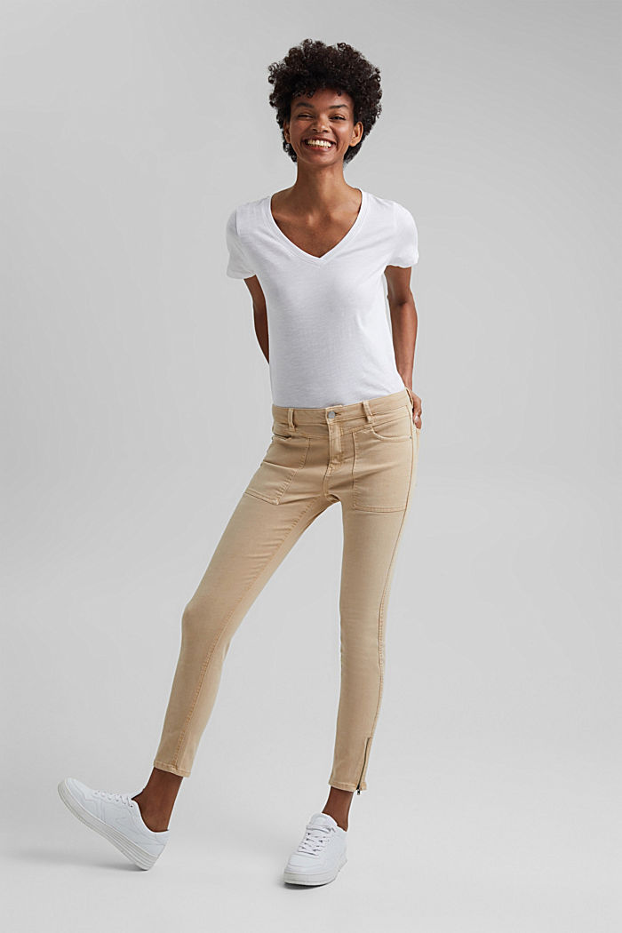 Recycelt: Stretch-Hose mit Zipper, BEIGE, detail image number 1