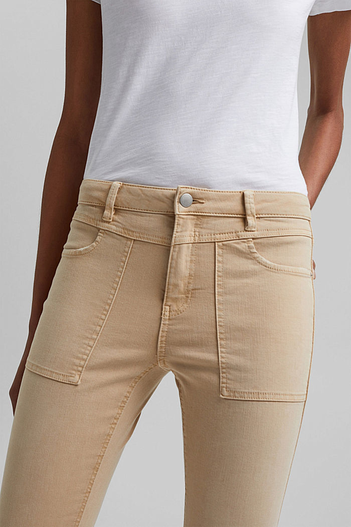 Recycelt: Stretch-Hose mit Zipper, BEIGE, detail image number 2