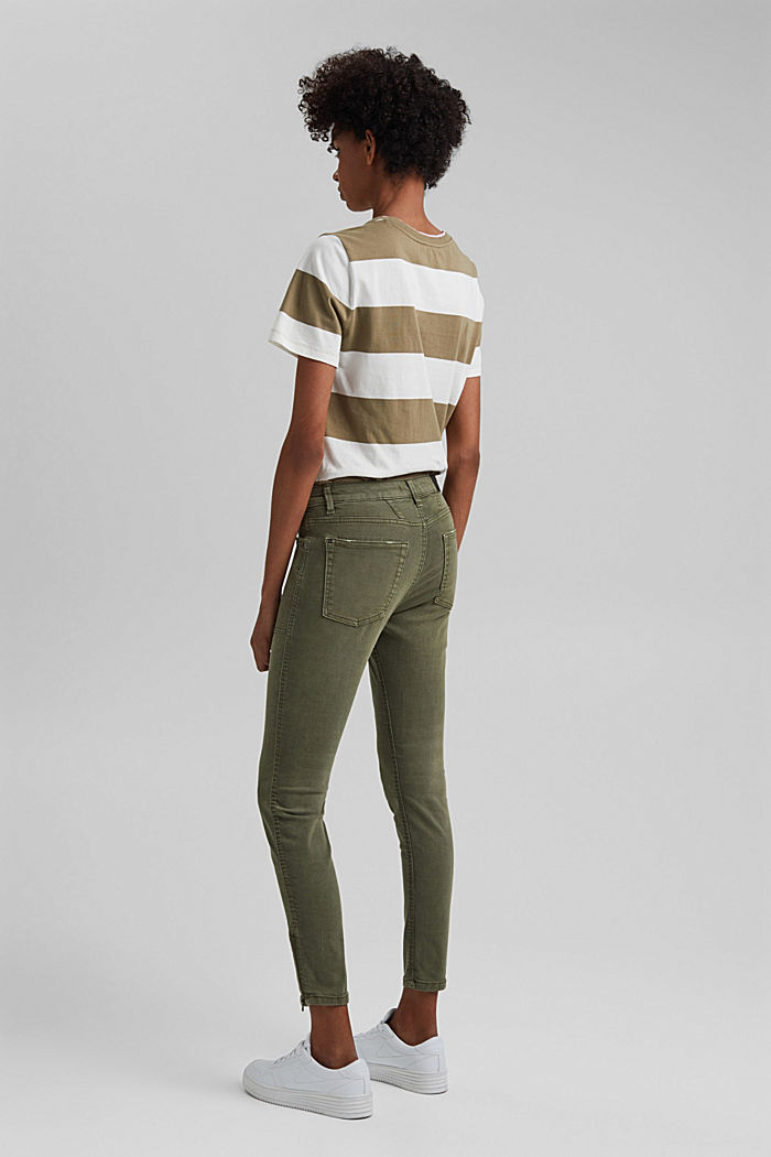 Recycelt: Stretch-Hose mit Zipper, KHAKI GREEN, detail image number 3