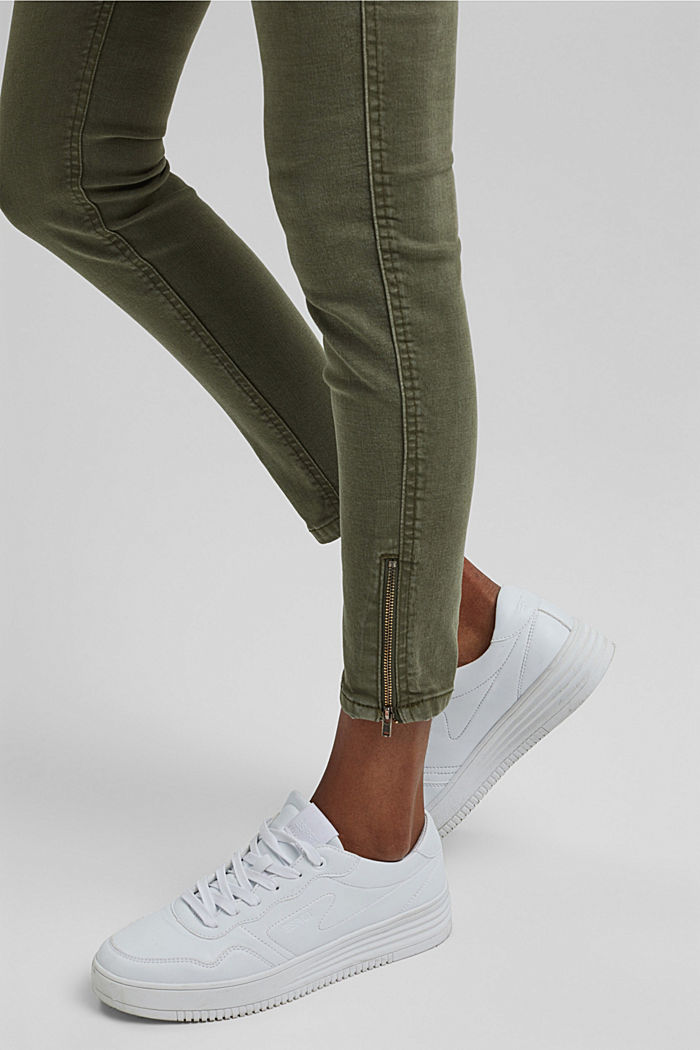 Recycelt: Stretch-Hose mit Zipper, KHAKI GREEN, detail image number 5