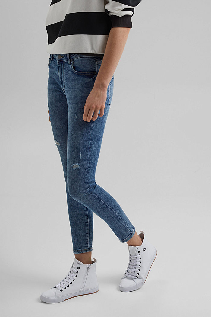 Stretch jeans with a vintage finish, organic cotton, BLUE MEDIUM WASHED, detail image number 0